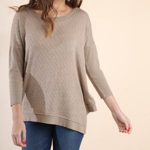 Umgee Latte Relaxed Fit Assymetrical Hem Top